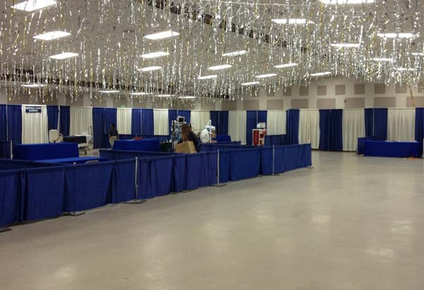 Blue and White Booths